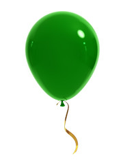 Green balloon with a gold ribbon on a white background. 3d render.