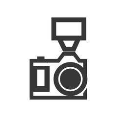 Gadget concept represented by silhouette of camera with flash icon. Isolated and flat illustration