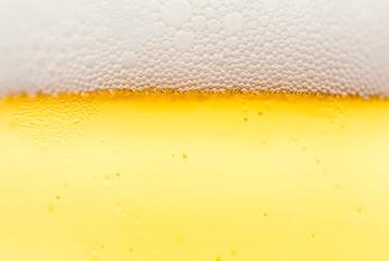 Beer bubbles close up macro view