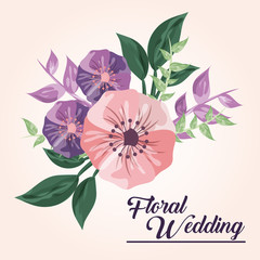 Drawing flower icon. Floral wedding design. Vector graphic