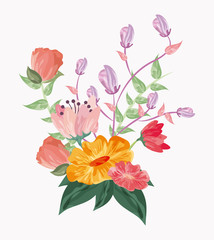 Floral wedding represented by flowers icon over pastel background. Colorfull and drawing illustration