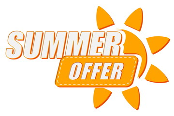 summer offer with sun sign, flat design label, vector