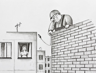 Builder with a plumb. Pencil drawing