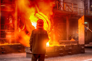 Worker on ferroalloy factory