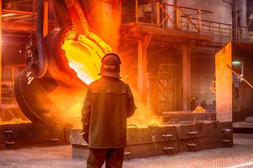 Worker on ferroalloy factory