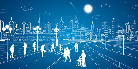 City scene, people walk on the street, city's skyline on background, street life, neon town, vector design art