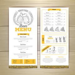 Beer  bar menu design.