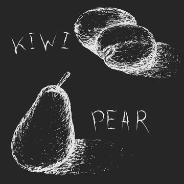 Hand drawn fruits. Summer fruit sketch set. Kiwi and pear for juice menu. Linear white elements on black background. Chalk grungy drawing on blackboard. Chalk board imitation. Vector illustration.