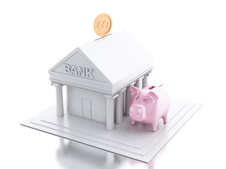 3d Bank building with money coin and piggy bank.
