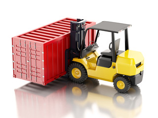 3d Forklift carrying a cargo container. Industry concept.