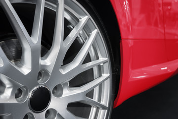 Closeup of Custom Wheels on a Luxury Sports Car