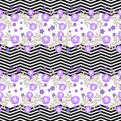 Floral seamless pattern in retro style, cute  flowers white background striped