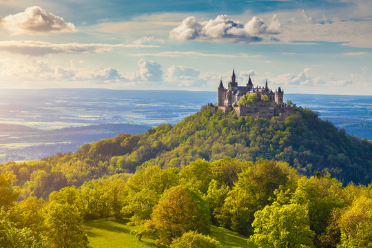 Hohenzollern Castle at sunset, Baden-Wuerttemberg, Germany