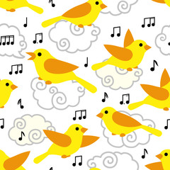 Seamless pattern with cute cartoon birds and notes