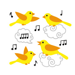 Collection of cute cartoon birds and notes in the sky