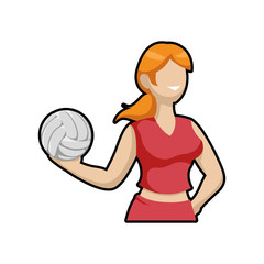 Sport concept represented by Volleyball and cartoon girl icon. Isolated and flat illustration