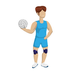 Sport concept represented by Volleyball and cartoon boy icon. Isolated and flat illustration