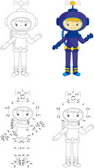 Cartoon astronaut. Coloring book and dot to dot game for kids