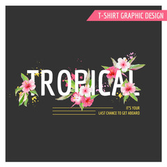 Tropical Flowers Graphic Design - for T-shirt, Fashion, Prints