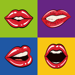 Pop art concept represented by female mouth icon. Colorfull illustration. Frame background