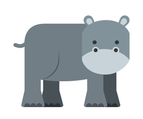 cute hippo  isolated icon design
