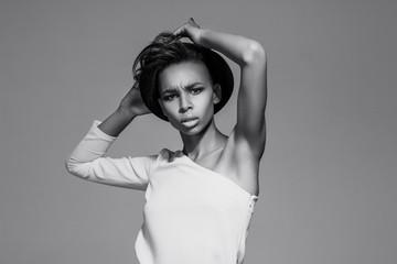 Beautiful american african girl posing.