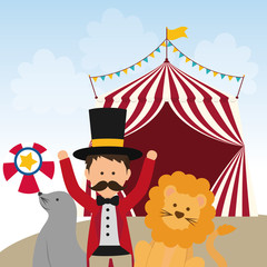 Circus and carnival concept represented by Lion, seal and tamer icon. Colorfull illustration.