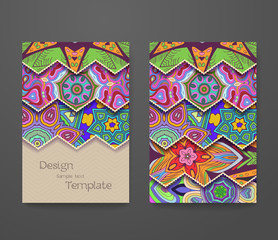 Colorful ornamental ethnic booklet set. Flyer template, abstract