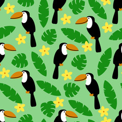 Seamless pattern with toucan, palm leaves and flower