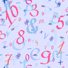 "Seamless pattern with symbols,  alphabet, numbers. ""Back to school"""