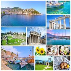collage of Greece - greek food - ancient landmarks - island sea
