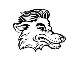 Vintage Black And White Hair Pomade Barber Shop Character - Super Cool Neat Wolf