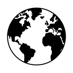 world map globe earth icon isolated vector illustration