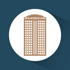 City and urban concept represented by building or tower icon over circle shape. Colorfull and Flat illustration