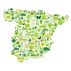 Mapa de Espanha feito com símbolos ecológicos