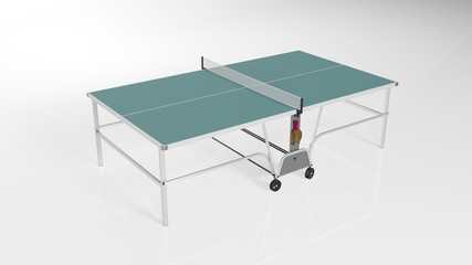 Table tennis, ping pong table with rackets isolated on white background