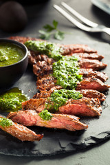 Wall Mural - Homemade Cooked Skirt Steak with Chimichurri