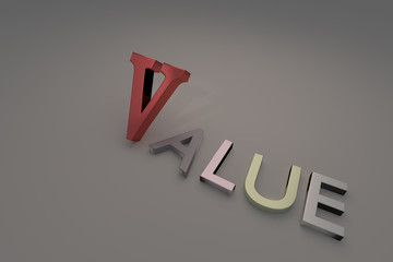 3D rendering of Word VALUE Isolated on gray background