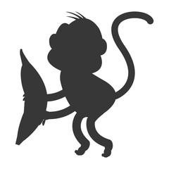 simple flat design monkey cartoon icon vector illustration silhouette