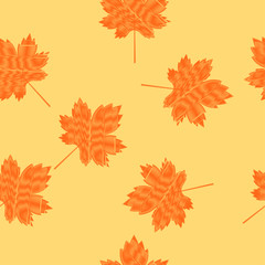 Scribbled maple leaves seamless pattern on a light yellow background. Autumn background.