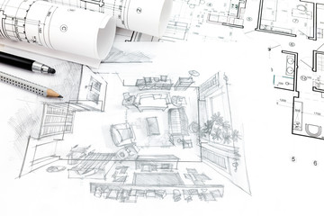 home renovation concept with architect blueprints and hand-drawn