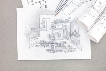 hand drawing illustration of living room interior with blueprint