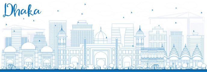 Outline Dhaka Skyline with Blue Buildings.