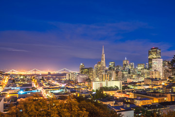 cityscape and skyline of san francisco at night