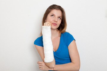Woman with broken hand