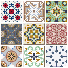 Fotorolgordijn Marokkaanse Tegels Vintage retro ceramic tile pattern set collection 041