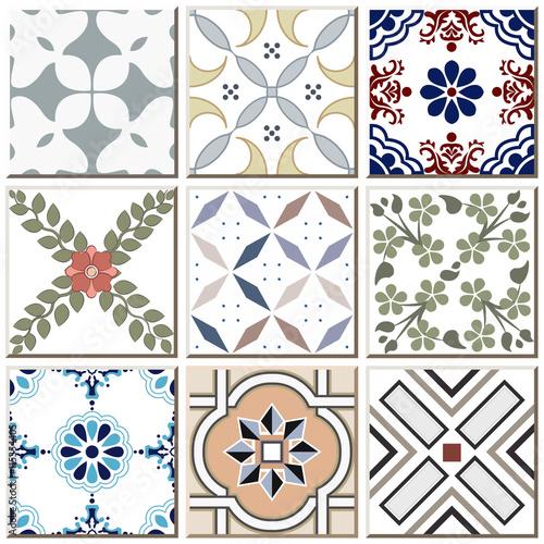 Vintage Retro Ceramic Tile Pattern Set Collection 037