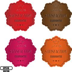Vector satisfaction guarantee label colorful.