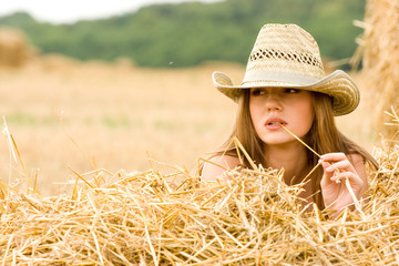 Cowgirl in straw