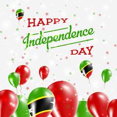 Saint Kitts And Nevis Independence Day Patriotic Design. Balloons in National Colors of the Country. Happy Independence Day Vector Greeting Card.